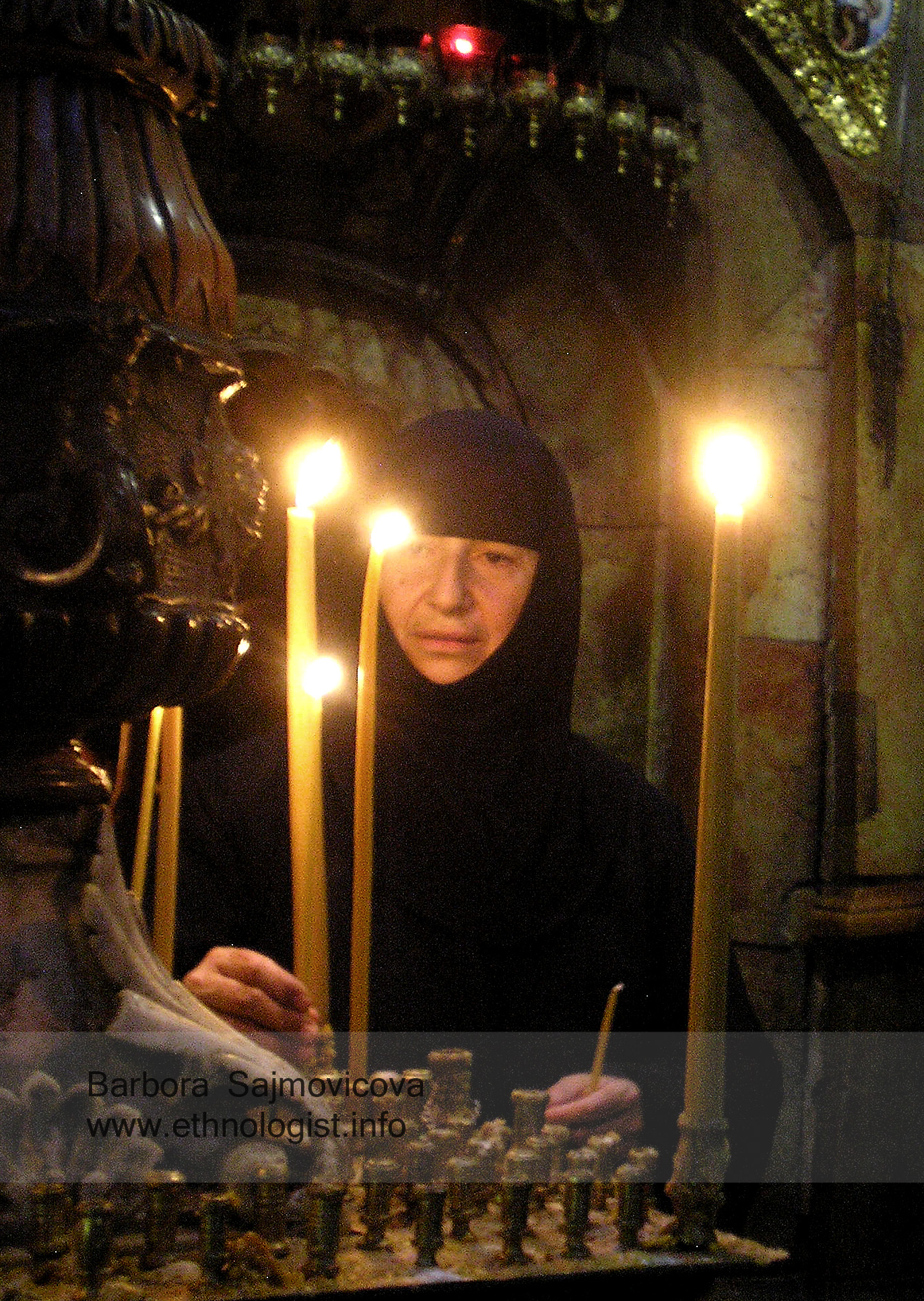 The Orthodox Christian Woman in the Church of the Resurrection in Jerusalem