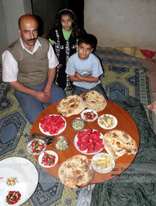 Dinner with Kurdish family in Turkey.