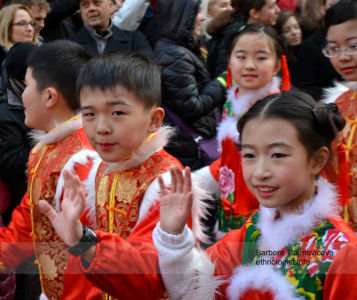 Children during celebration of Chinese New Year
