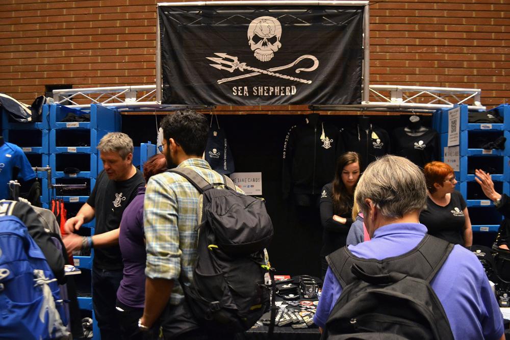 The stand of Sea Shepherd UK which is protecting British coastal waters. Photo: Barbora Sajmovicova, 2015.