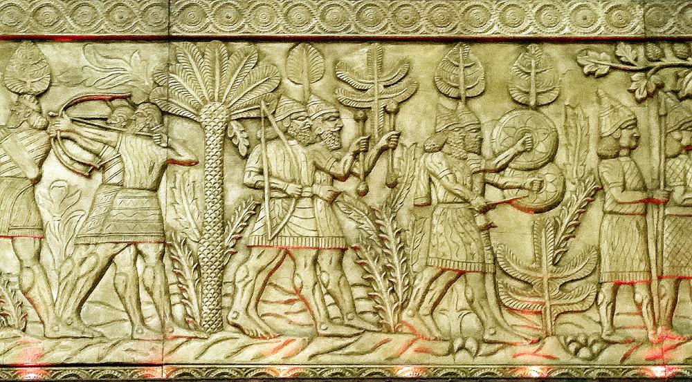 Moderní vyobrazení obyvatel starověké Mezopotámie (interiér restaurace Gilgameš).. Foto: Barbora Šajmovičová, Londýn, 2015.