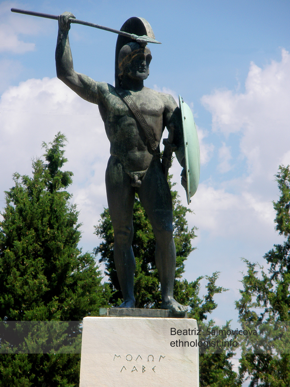 Socha spartského krále Leónidase. Foto: Beatriz Šajmovičová, Olympus, 2010.