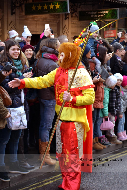 Fire Monkey wishing happy Chinese New Year during traditional celebration near Chinatown in London. Photo: Barbora Sajmovicova, 2016, London.