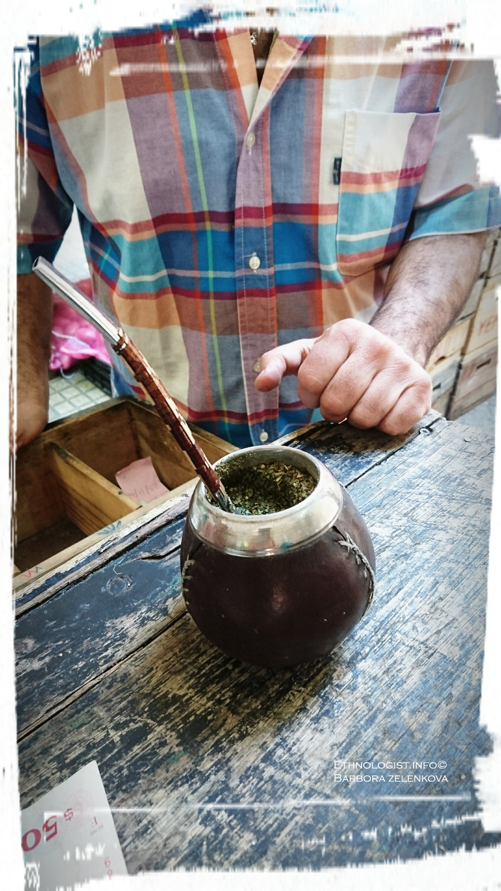 Yerba Mate gourd with the bombilla (yerba mate straw). Photo: Barbora Zelenková, Montevideo, December, 2016.