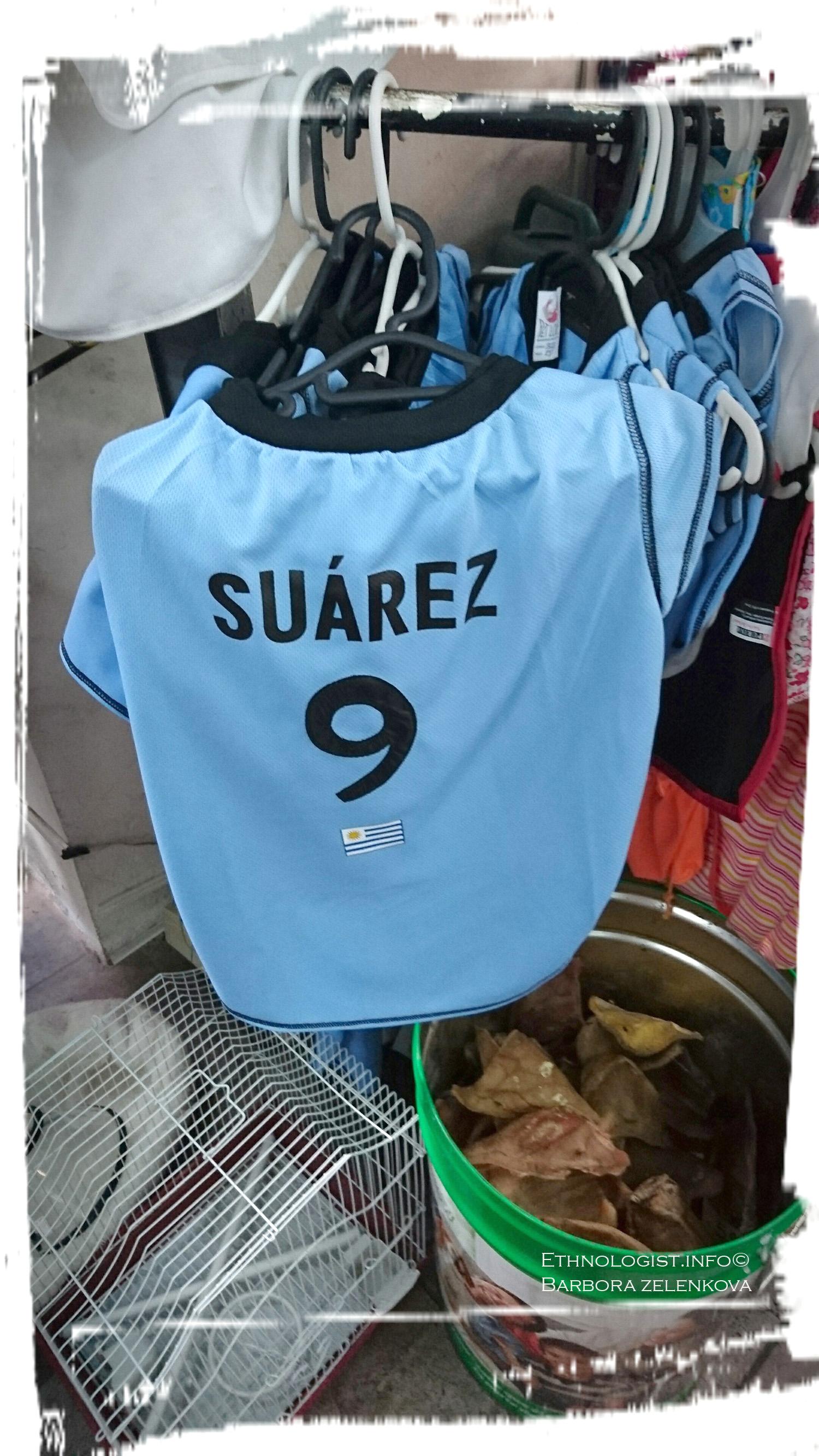 Fotbalový psí dres se jménem Suáreze. Foto: Barbora Zelenková, Montevideo, 2016.